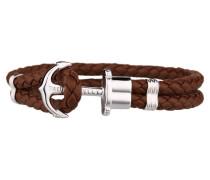 PHREPS Silver/Brown Leather Anchor Armband PH-PH-L-S-Br-XXL