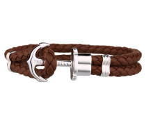 PHREPS Silver/Brown Leather Anchor Armband PH-PH-L-S-Br-M