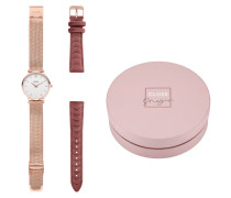 x Negin Minuit Rose Gold Mesh/Pink Velvet Uhr Giftbox