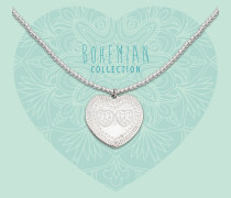 Bohemian Beads Heart Stipped Striped Hearts Kette BO287SSH17S (Länge: 40-44 cm)