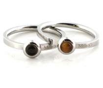 Stainless Steel Ring Set Tigereye/Smokey Quartz