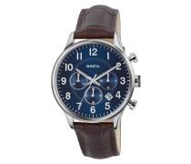 Contempo Chrono Braun Leather Strap Blau Dial Uhr TW1576