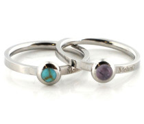 Stainless Steel Ring Set Turquoise/Amethyst