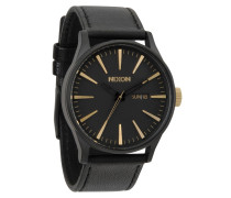 The Sentry Leather Matte Black/Gold Uhr A1051041