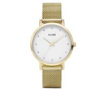 Pavane Mesh Gold/White Stones Uhr CL18302