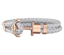PHREPS Rose gold/Grey Leather Anchor Armband PH-PH-L-R-GR-S