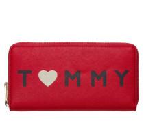 Honey Large Fiery Red/Love Tommy Print Reißverschluss-Mappe AW0AW04126903