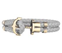 PHREPS Gold/Grey Leather Anchor Armband PH-PH-L-M-GR-S
