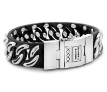 Chain Stud Mix Silver/Leather Black Armband 813BL