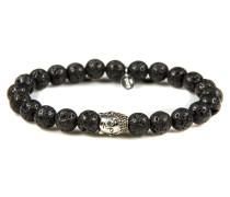 Silver Buddha Black Rocks Armband 6122