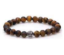 Tiger Without Fear Silver Round Bead Armband 86430
