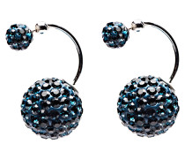 Double Dots Twisted Blue Crystal Ohrringe 11205