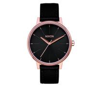 The Kensington Leather Rose Gold/Black Uhr A108-1098