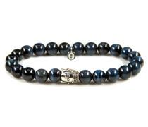 Silver Buddha Blue Tigereye Armband 6110