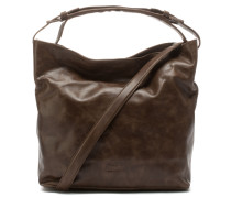 Polished Leather Dark Brown Schultertasche 2320100023044-M