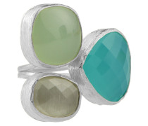 Gold Trio Gem Silver Forest Green Ring 5121-R-5275
