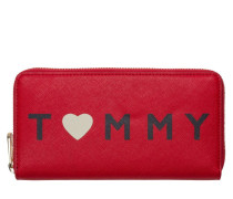 Honey Large Fiery Red/Love Tommy Print Reißverschluss-Mappe AW0AW04126903
