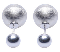 Double Dots Matte Silver Ohrringe 11164