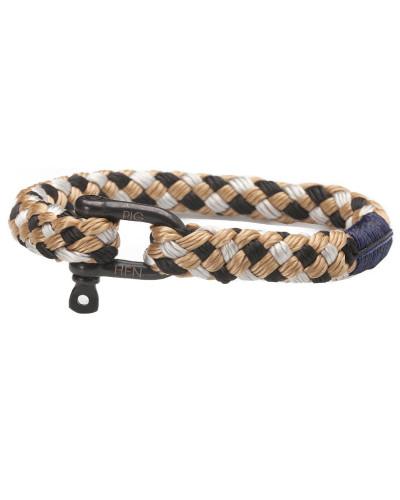 Hairy Harry Black/Silver/Camel Armband P17-90815 (Länge: 15.50-16.00 cm)