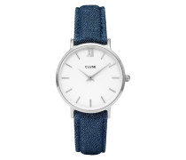 Minuit Silver White/Blue Denim Uhr CL30030