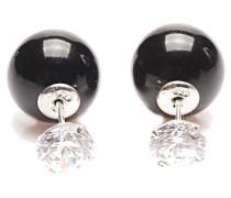 Double Dots Black Pearl Zirkone Ohrringe 11068