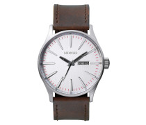 The Sentry Leather Silver/Brown Uhr A1051113