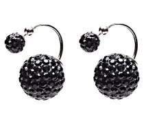 Double Dots Twisted Black Crystal Ohrringe 11203
