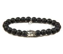 Silver Buddha Black Is Black Armband 6116