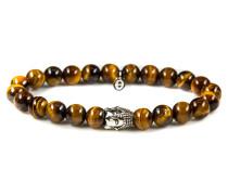 Silver Buddha Tiger Eye Armband 6111