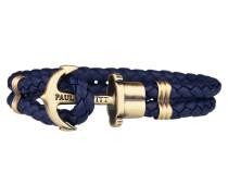 PHREPS Gold/Navy Leather Anchor Armband PH-PH-L-M-N-L