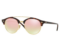 Clubmaster Round Shiny Red Havana Sonnenbrille RB4346 990/7O