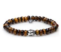 Oval Tigereye Silver Buddha Armband 86448
