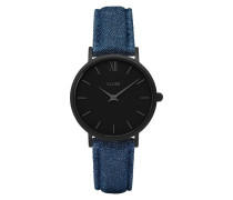 Minuit Full Black/Blue Denim Uhr CL30031