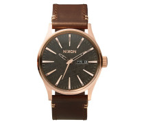 The Sentry Leather Rose Gold Gunmetal Brown Uhr A1052001