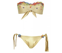 Padded Bandeau Bikini mit Häkeldetails in Gold