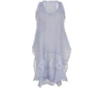 Kleid Senza Maniche aus Leinen-Mix mit Makramee-Spitze in Hellblau
