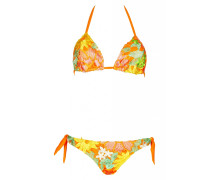 Padded Triangle Bikini mit gehäkelten Blumen