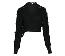 Piped Luxe Wickelbluse schwarz