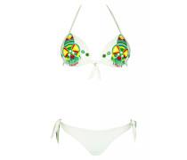 Push Up Bikini in weiß mit Perlenstickerei