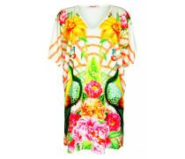 Dress mit Blumenprint und V Ausschnitt in weiß