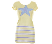 Minikleid mit Pailletten und Streifenmuster in Gelb-Weiß-Blau