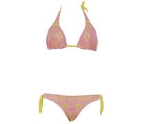 Ungefütterter Triangle-Bikini aus Makramee-Spitze in Rose auf Gelb für C/D Cu...