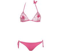 Triangle Bikini mit Pailletten-Blüte in Fuchsia