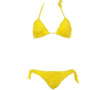 Gefütterter Triangle Bikini aus Makramee-Spitze in Sonnengelb mit herausnehmb...