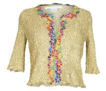 Jacke mit Blütenstickerei in Gold
