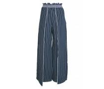 Gesmokte Hose mit Schlitz in dunkelblau