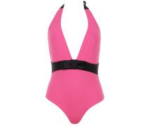 Babylon Badeanzug in Pink mit schwarzer Taille und Schleife