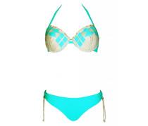 Push Up Bikini mit Bügel in gewebter Lederoptik