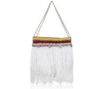 Jumbo Handtasche aus Nylon in Weiß mit Stickerei, Perlen und Fransen