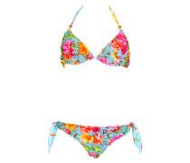 Gesmokter Bügel-Bikini mit Blütenprint
